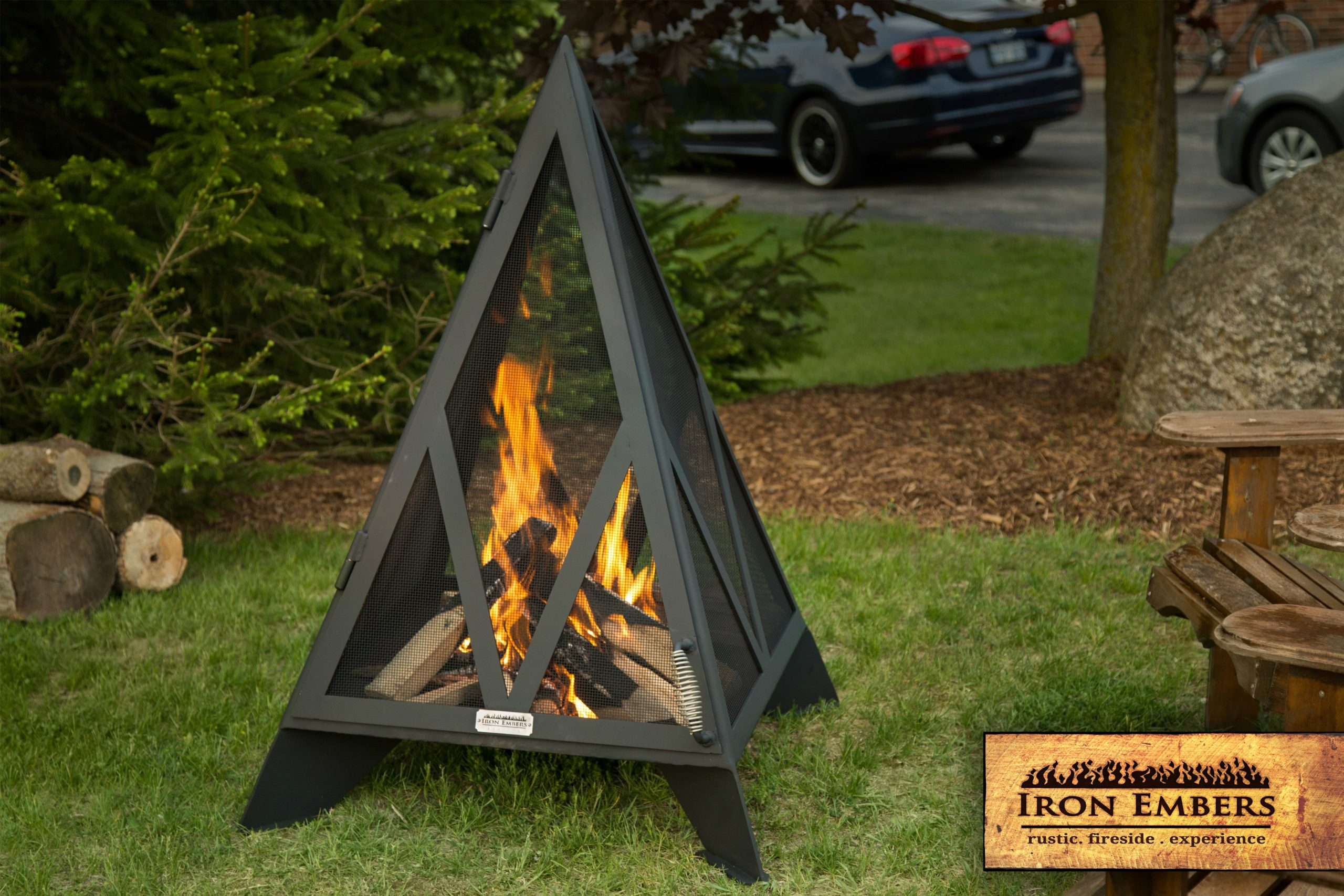4' Pyramid Outdoor Fireplace