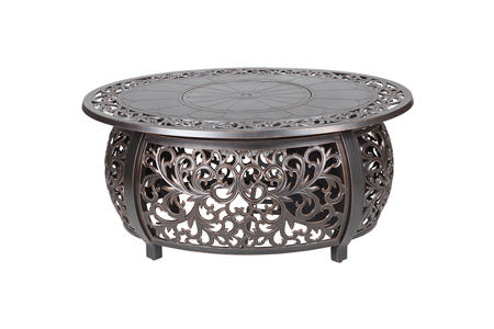 Angie Aluminum Fire Table, Oval